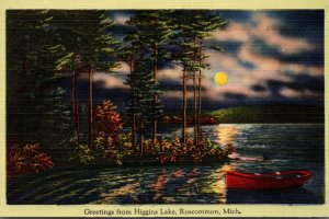 Michigan Greetings From Higgins Lake Roscommon 1942
