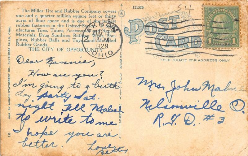 F27/ Akron Ohio Postcard Miller Tire Rubber Company Factory 1929