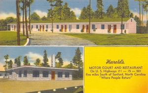 Sanford North Carolina~Harold's Motor Court Motel~Roadside Diner~1950 Linen PC