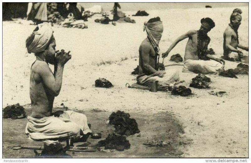 india, Fakir Faqir, Holy Man, Sun Worshippers, Meditation (1920s) RPPC Postcard