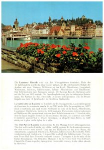 SWITZERLAND Postcard Lucerne, Musegg Towers, River Reuss, St. Peter's (A14)
