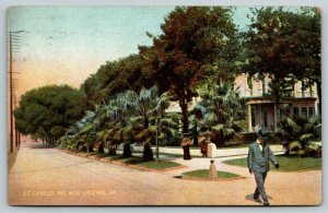 New Orleans Louisiana~Gentleman Watches Feet on St Charles Avenue~Home~1908 PC