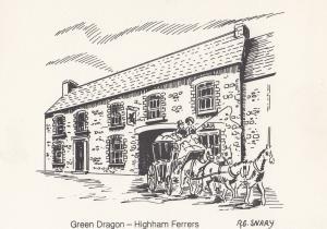 The Green Dragon Higham Ferrers Pub Northampton Postcard