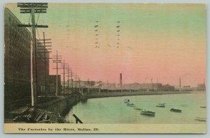 Moline Illinois~Factories on the Mississippi River~Smoke Stacks~1911 Postcard