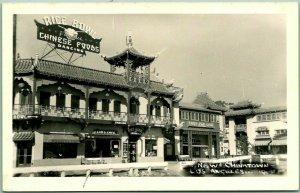 1940s Los Angeles CA Photo RPPC Postcard NEW CHINATOWN Rice Bowl Restaurant