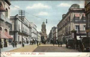 Mexico City Calle Cinco de Mayo c1905 Postcard #2