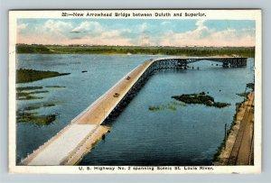 Duluth MN-Minnesota, New Arrowhead Bridge, St Louis River, Vintage Postcard