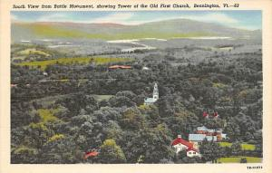 Aerial View  showing Tower of the Old First Church  Bennington Vermont