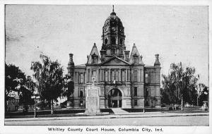 whitley county court house columbia city indiana L4348 antique postcard