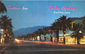 Palm Springs California~Palm Canyon Drive @ Night~Time Lapsed Scene~1963 Pc