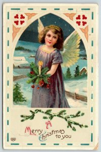 EAS Christmas~Girl Angel in Purple~Candle Pine Bouquet~Arch Portal~GEL Germany