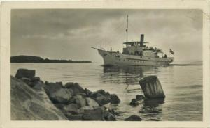 Ship on Balaton Lake Hungary 1950s real photo postcard