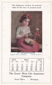 ADV: Great-West Life Assurance Calender, May 1913; Mother's Helper, Doll