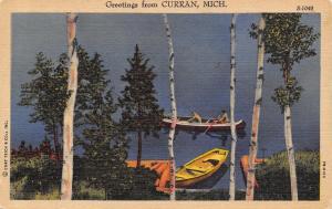 Curran Michigan~Lakefront Canoe~Too Cold to Swim~1957 Linen Postcard