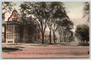 Michigan City Indiana~Washington Street North @ 7th~c1910 Handcolored Rotograph