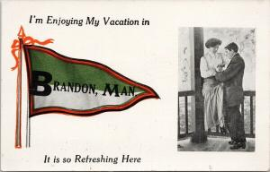 Brandon Manitoba MB Enjoying Vacation Refreshing Man Woman Unused Postcard F3