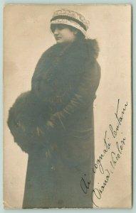 Diana Nicolosi~Italian Actress? Long Fur Coat~Lace Cloche Hat~Firenze c1912 RPPC