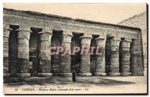 Old Postcard Egypt Egypt Medinet Habu THEBES Colonnade in the first Court