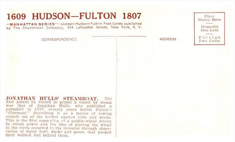Hudson-Fulton   Jnathan Hull's  Steamboat