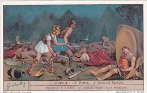 Liebig Vintage Trade Card S1239 Aeneid Part 2 No 3 Niso ed Eurialo