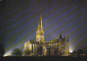 Salisbury Cathedral Fllodlit Wiltshire England