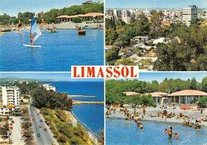 B108933 Cyprus Limassol Beach Promenade Plage Boats Panorama