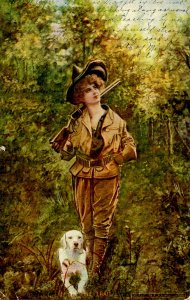 On the Trail (Woman Hunter and Dog) © 1900