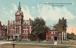 LPS13 Ravenna Ohio OH Postcard Portage County Court House and Jail