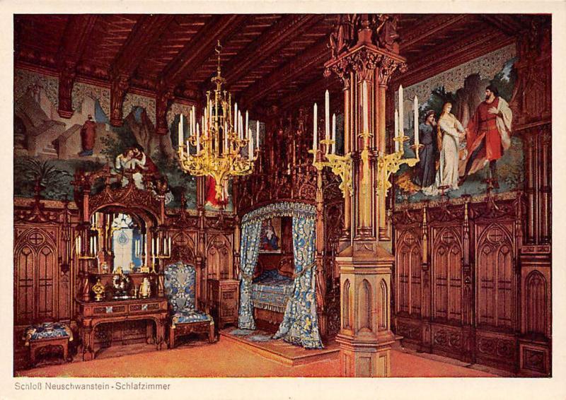 Castle Interior Schloss Neuschwanstein Schlafzimmer / HipPostcard