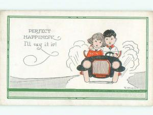 Pre-Linen Comic signed BOY AND GIRL RIDING IN CAR TOGETHER AB8398