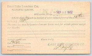 Stillwater Minnesota~East Side Lumber Co Manufacturers Receipt~1902