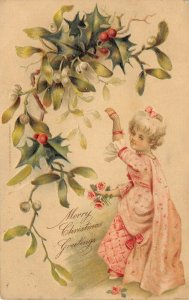 Christmas~Dainty Regency Gal in Pink~Net Gloves~Mistletoe & Holly Berry~Emboss