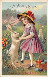 Victorian Easter Fantasy~Girl Dances Paw in Hand w/ White Rabbit~Emboss~750/2