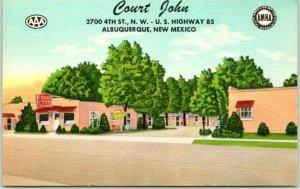 Albuquerque, NM Postcard COURT JOHN Motel Highway 85 Roadside Linen 1950s unused