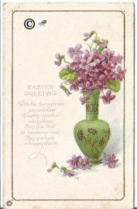 Vintage Postcard Purple Violets in Green Vase Decorated with Purple Asters Poem