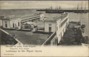Ponta Delgada Sao Miguel Azores Fish Market c1905 Postcard