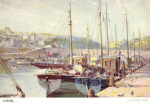 Vintage 1968 Art Print Postcard, Looe Harbour Cornwall by Vernon Ward 7P