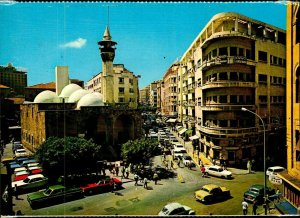 CI01333 lebanon beirut emir mansour mosque minaret old car religion muslim islam