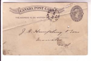 Canadian Postal Stationary, Victoria, 1 Cent Black, Sacville New Brunswick Sp...