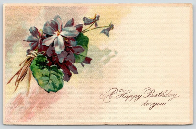 PFB Birthday~African Violets Bouquet~Textured~Embossed~Serie 5969~1908 Postcard