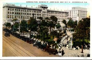 Florida Jacksonville Hemming Park Showing St James Building & Y M C A 1930 Cu...