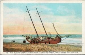 Rum Runner Wrecked at Race Point Coast Guard Station Cape Cod MA Postcard E49