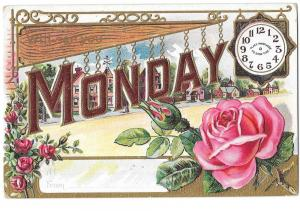 Vintage Appointment Postcard Rose Monday Embossed Gilded