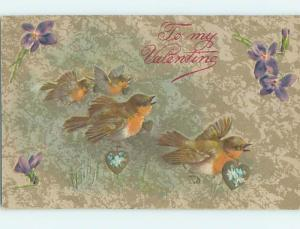 Pre-Linen valentine BIRDS CARRY GOLDEN HEARTS WITH FORGET-ME-NOT FLOWERS HJ2205