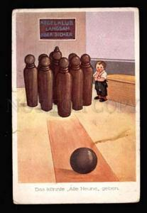 025066 BOWLING Vintage comic colorful postcard