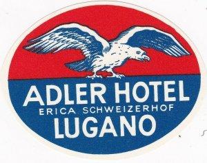Switzerland Lugano Adler Hotel Vintage Luggage Label sk4253