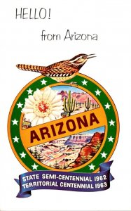 Arizona Hello From State Semi-Centennial 1962 & Territorial Centennial 1963