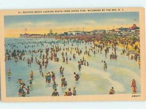 Linen BEACH SCENE Wildwood New Jersey NJ AE9484