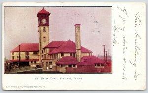 Portland OR~Grey Stone~Red Brick Union Depot~10:52 AM on Clock Tower~Smokestack
