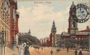 Durban Natal South Africa West Street Scenic View Antique Postcard J72197